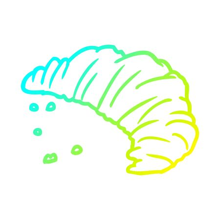 cold gradient line drawing of a croissant