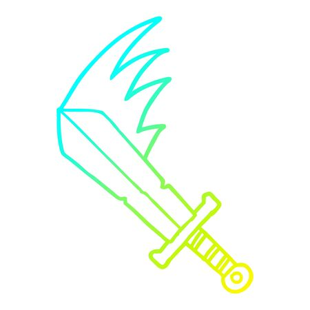 cold gradient line drawing of a cartoon swinging sword