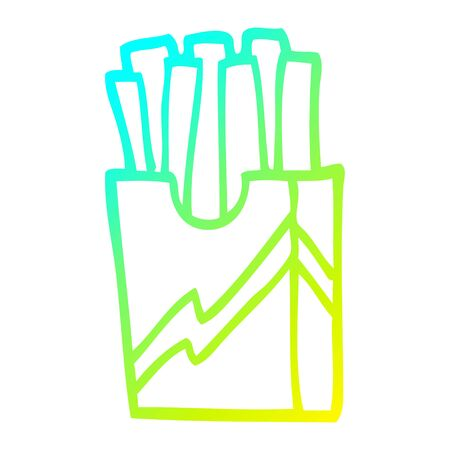 cold gradient line drawing of a cartoon fast food fries Foto de archivo - 130436295