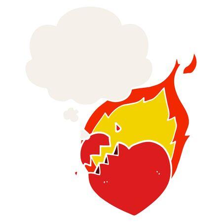 cartoon flaming heart with thought bubble in retro style Illusztráció