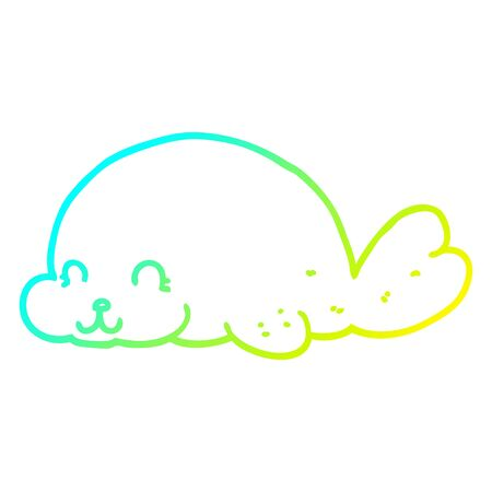cold gradient line drawing of a cute cartoon seal Ilustracja