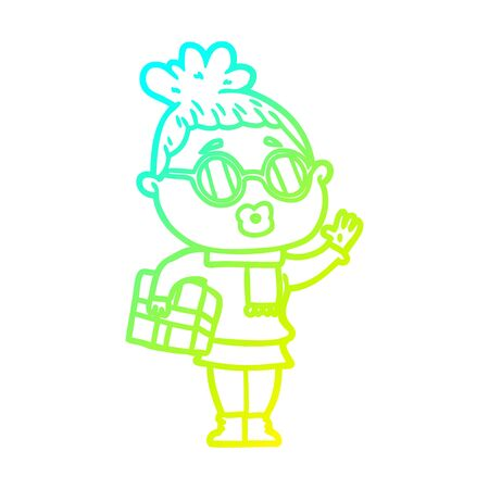 cold gradient line drawing of a cartoon woman wearing sunglasses Banque d'images - 130436091