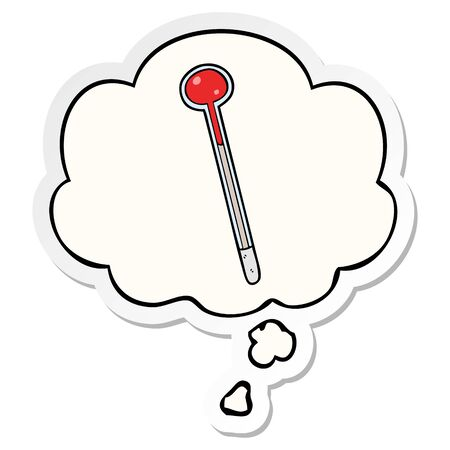 cartoon thermometer with thought bubble as a printed sticker