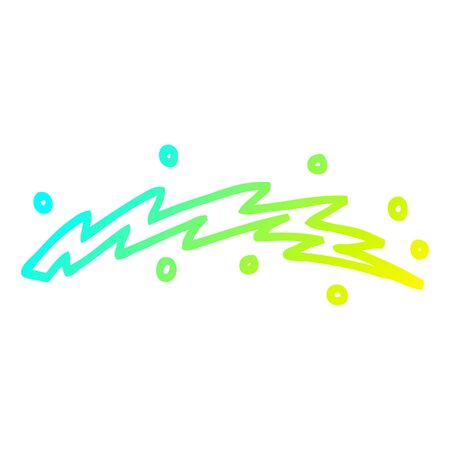 cold gradient line drawing of a cartoon lightning bolt