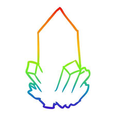 rainbow gradient line drawing of a quartz crystal  イラスト・ベクター素材