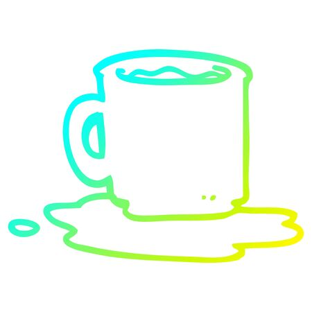 cold gradient line drawing of a cartoon of spilt mug of tea