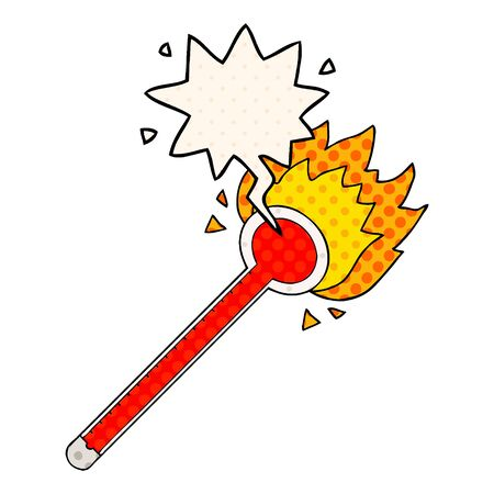 cartoon thermometer with speech bubble in comic book style