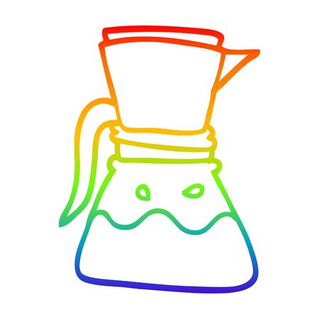 rainbow gradient line drawing of a cartoon filter coffee Illusztráció
