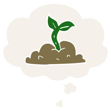 cartoon growing seedling with thought bubble in retro style