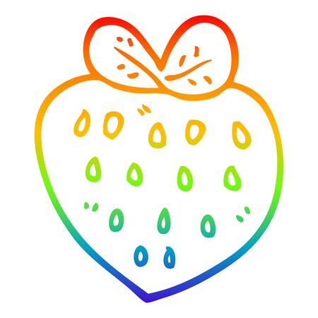 rainbow gradient line drawing of a cartoon strawberry fr