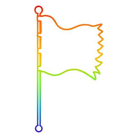 rainbow gradient line drawing of a cartoon waving flag
