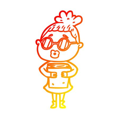 warm gradient line drawing of a cartoon woman with book wearing spectacles
