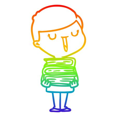 rainbow gradient line drawing of a cartoon happy boy with stack of books 向量圖像