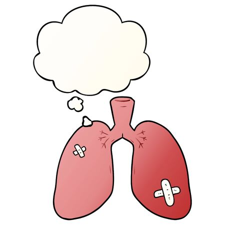 cartoon repaired lungs with thought bubble in smooth gradient style Çizim