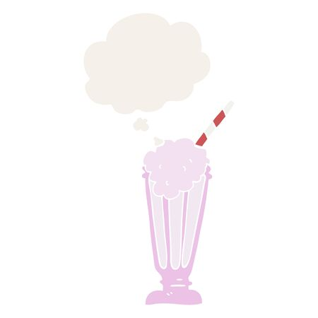 cartoon milkshake with thought bubble in retro style