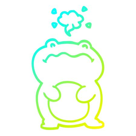 cold gradient line drawing of a cartoon frog Illustration
