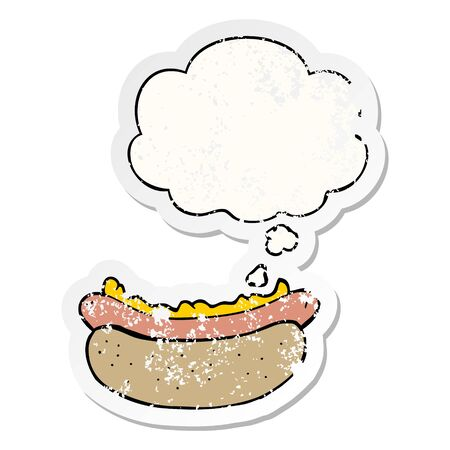 cartoon hotdog with thought bubble as a distressed worn sticker