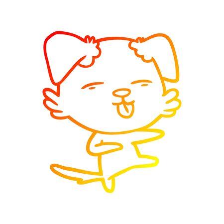 warm gradient line drawing of a cartoon dog dancing Stock Vector - 130436563