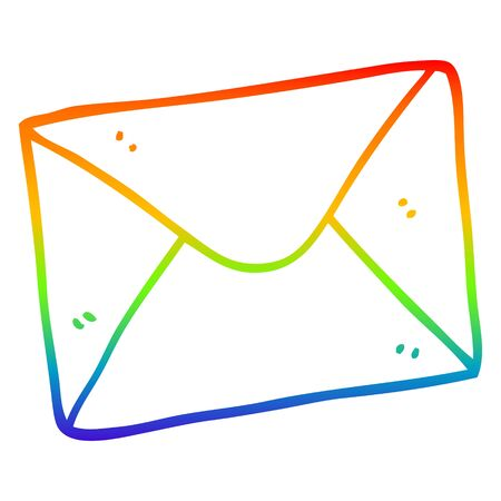 rainbow gradient line drawing of a cartoon letter