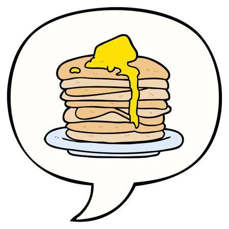 cartoon stack of pancakes with speech bubble Ilustração