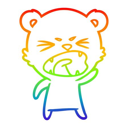 rainbow gradient line drawing of a angry cartoon polar bear
