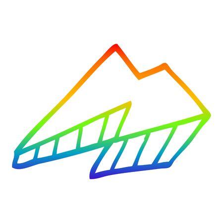rainbow gradient line drawing of a cartoon lightning bolt Banco de Imagens - 130428426
