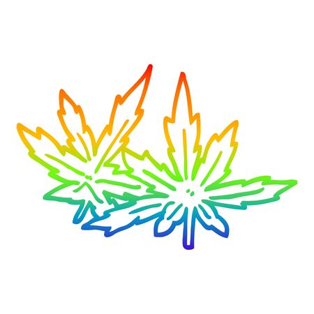 rainbow gradient line drawing of a cartoon marijuana leaves Çizim