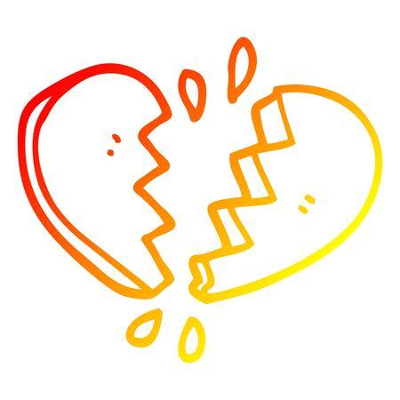 warm gradient line drawing of a cartoon broken heart Illustration