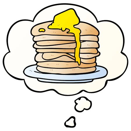 cartoon stack of pancakes with thought bubble in smooth gradient style Ilustracja