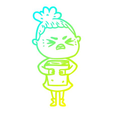 cold gradient line drawing of a cartoon angry woman Ilustração