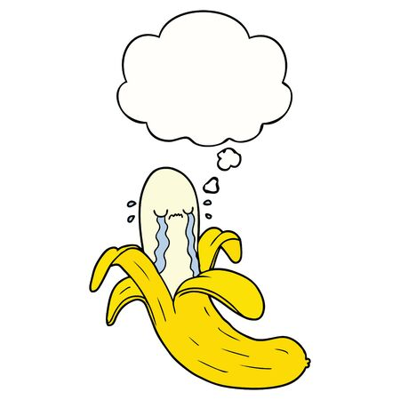 cartoon crying banana with thought bubble Illustration