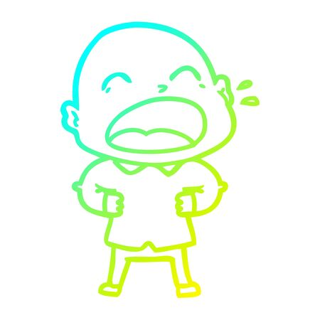 cold gradient line drawing of a cartoon shouting bald man