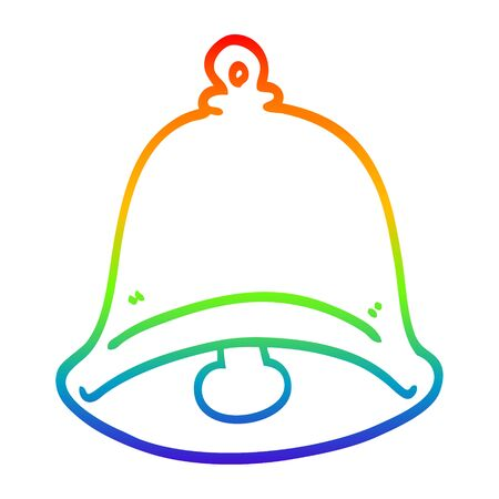 rainbow gradient line drawing of a cartoon ringing bell