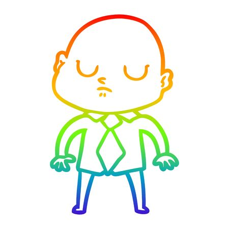rainbow gradient line drawing of a cartoon bald man