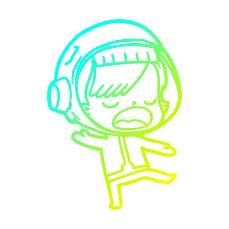 cold gradient line drawing of a cartoon talking astronaut woman 向量圖像