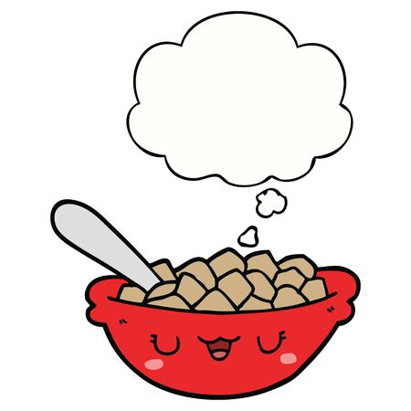 cute cartoon bowl of cereal with thought bubble
