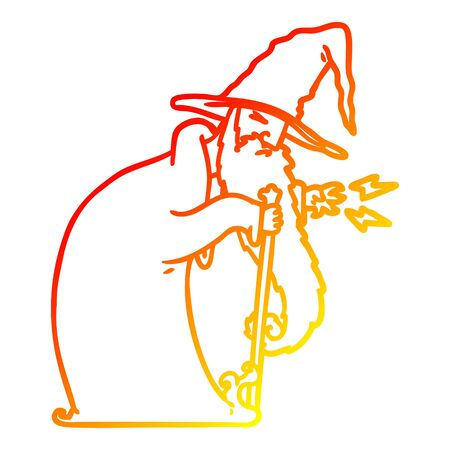 warm gradient line drawing of a cartoon wizard