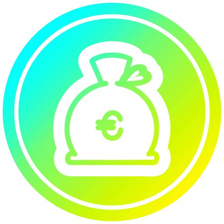money sack circular icon with cool gradient finish Illustration