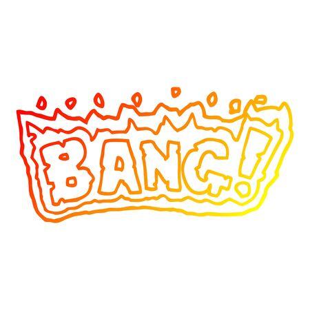 warm gradient line drawing of a cartoon word bang 일러스트