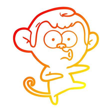 warm gradient line drawing of a cartoon dancing monkey 向量圖像