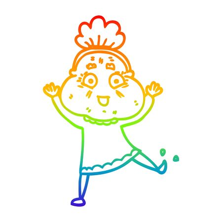 rainbow gradient line drawing of a cartoon dancing old lady