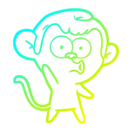 cold gradient line drawing of a cartoon hooting monkey 向量圖像