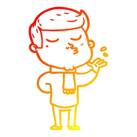 warm gradient line drawing of a cartoon model guy pouting 向量圖像