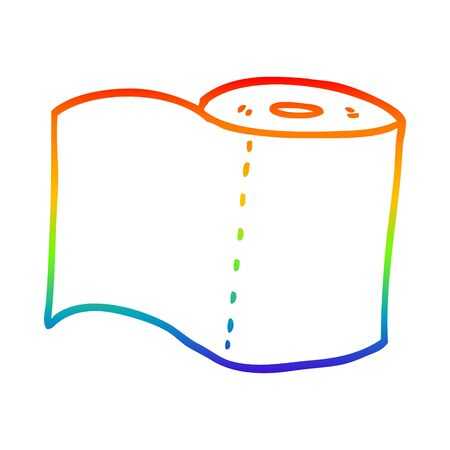rainbow gradient line drawing of a cartoon toilet roll Stock Illustratie
