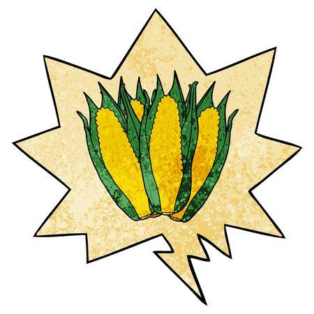 cartoon organic corn with speech bubble in retro texture style Illustration