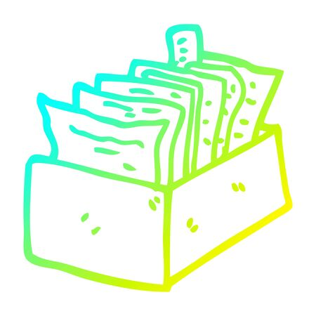 cold gradient line drawing of a cartoon box of files