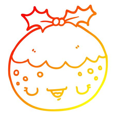 warm gradient line drawing of a cute cartoon christmas pudding