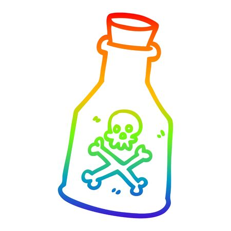 rainbow gradient line drawing of a cartoon poison bottle