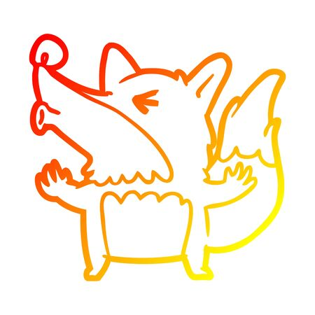 warm gradient line drawing of a halloween werewolf howling
