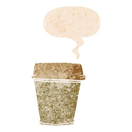 cartoon take out coffee with speech bubble in grunge distressed retro textured style